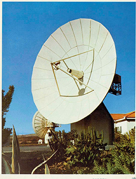 An antenna in the Telefonica tracking station in Maspalomas (Canarias)