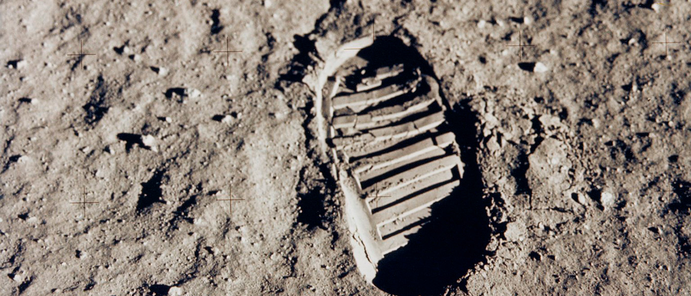 Footprint of an astronaut in the Moon.