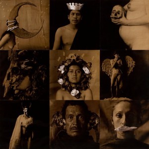 Luis González Palma. Lotería I, la luna, el rey la muerte, la máscara, la rosa la dama, el diablo, el pájaro, la sirena. (1988-1991). Cortesía del artista.