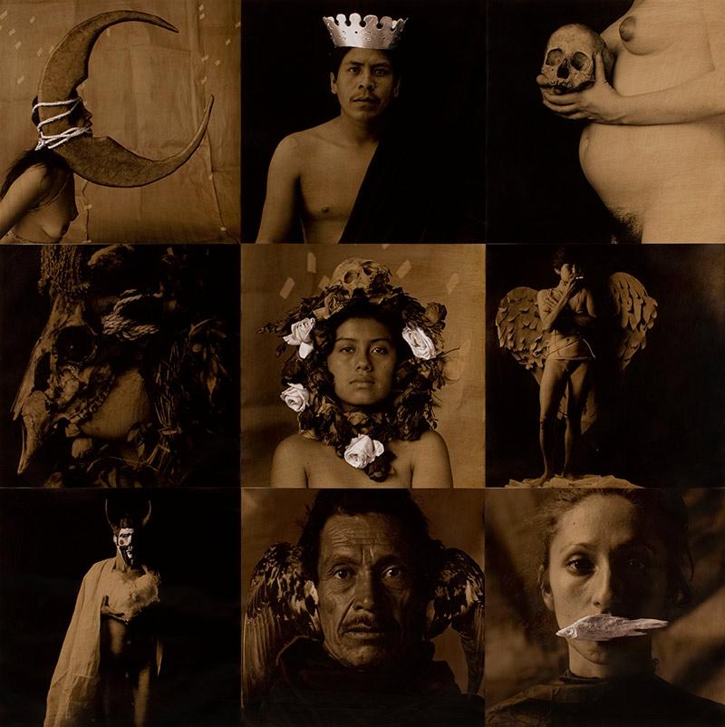 Luis-González-Palma_La-Lotería-I-La-luna-el-rey-la-muerte-la-máscara-la-rosa-la-dama-el-diablo-el-pájaro-la-sirena_1988-1991_Cortesía-del-artista