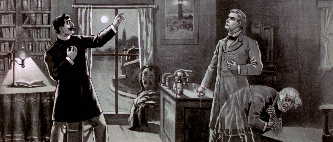 Cartel de una adaptación teatral temprana de El extraño caso del Doctor Jekyll y el señor Hyde, Chicago, c. 1886 (The Library of Congress). Cartel