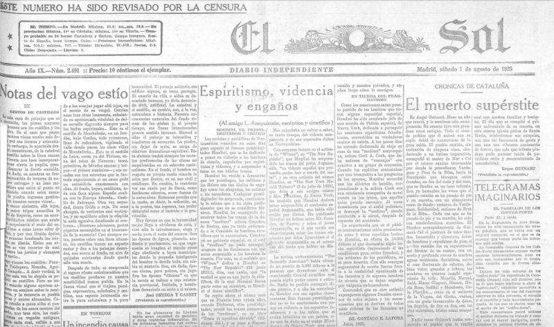 Diario El Sol, 1925.