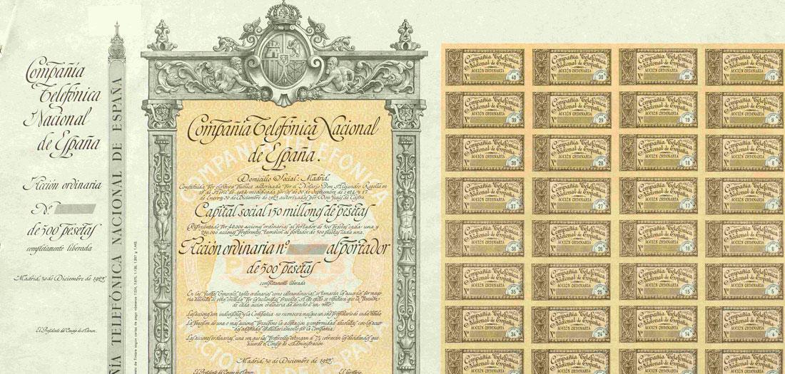 Acción ordinaria al portador 1925. Compañía Telefónica Nacional de España.