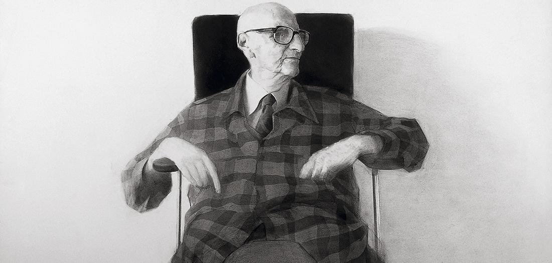 Retrato Jorge Guillén, 1983. Carboncillo y lápiz/papel. Colección particular (Madrid).