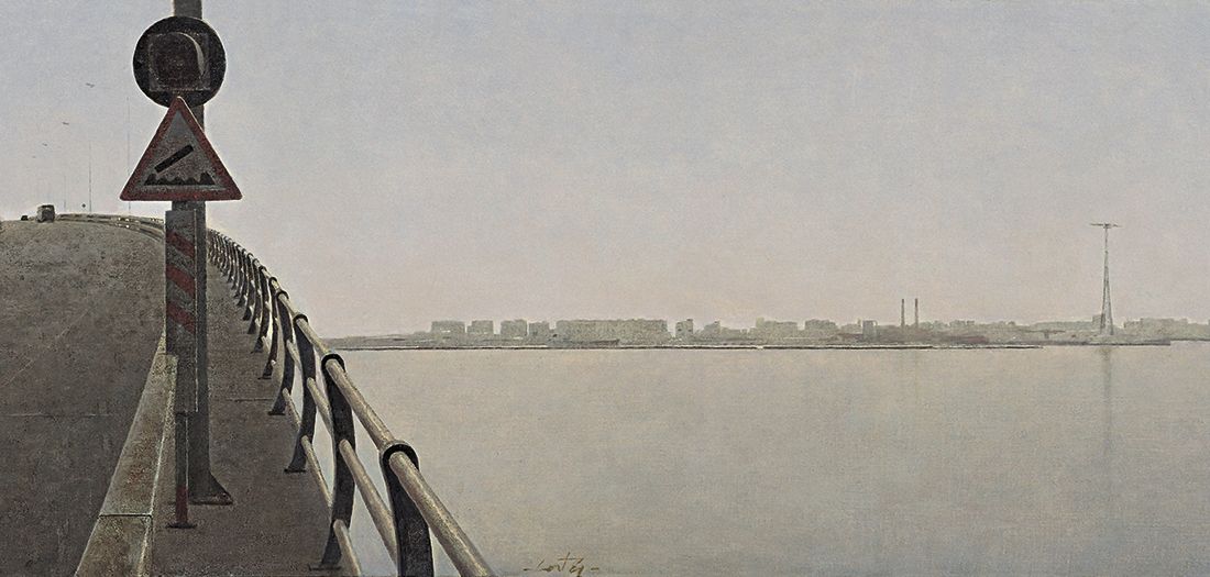 Puente sobre la Bahía de Cádiz (boceto), 1993. Óleo/cartón. Colección particular Juan M. González de las Cuevas (Madrid).