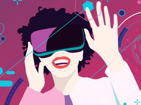 ilustración de mujer con gafas de realidad virtual