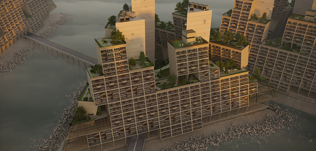 Interpretación del proyecto Triton City de Buckminster Fuller (1968), 2020. © Jon Stone