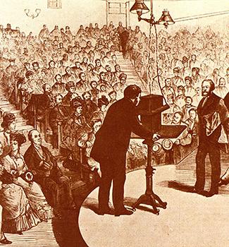 Demostración pública del funcionamiento del teléfono.